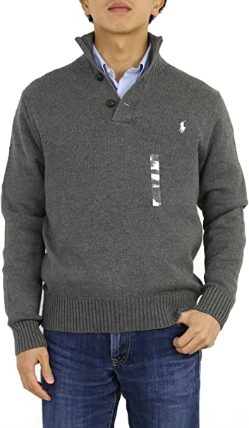 Polo Ralph Lauren Hombre 3 Botón Mock Neck Sweater - Gris ...