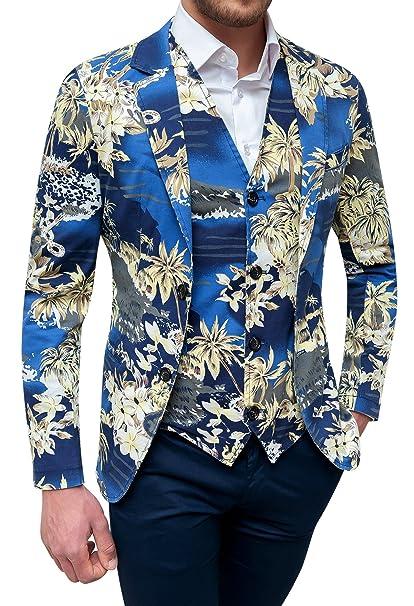 Evoga Giacca con Gilet Uomo Blu Floreale Slim Fit Elegante in Cotone   Amazon.it  Abbigliamento 6c93b077c4d
