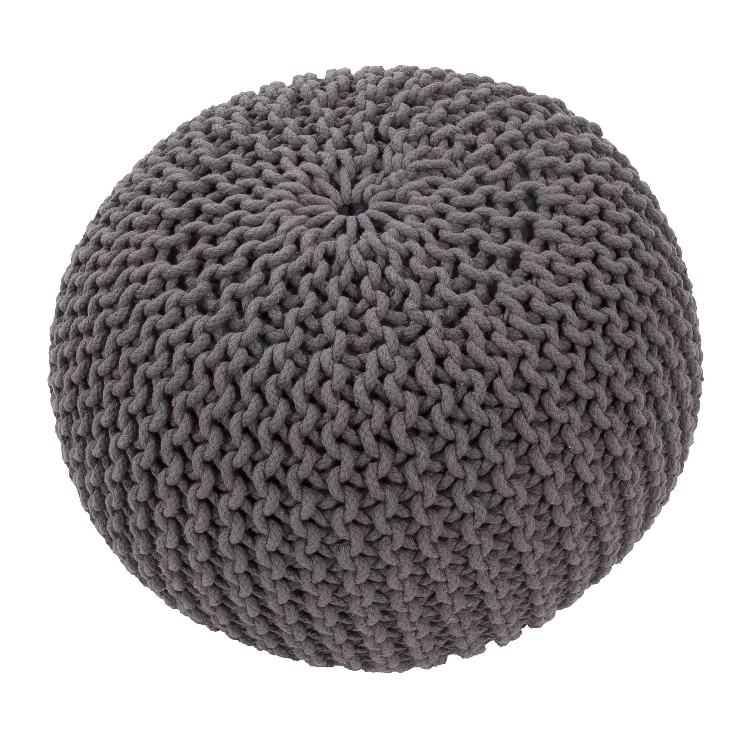 Jaipur Solid Pattern Gray Cotton Pouf, 20-Inch x 20-Inch x 14-Inch, Steele Spectrum
