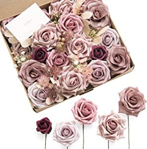 Ling's moment Elegant Dusty Rose Artificial Flowers for DIY Wedding Bouquets Centerpieces Arrangements Party Baby Shower Home Decorations