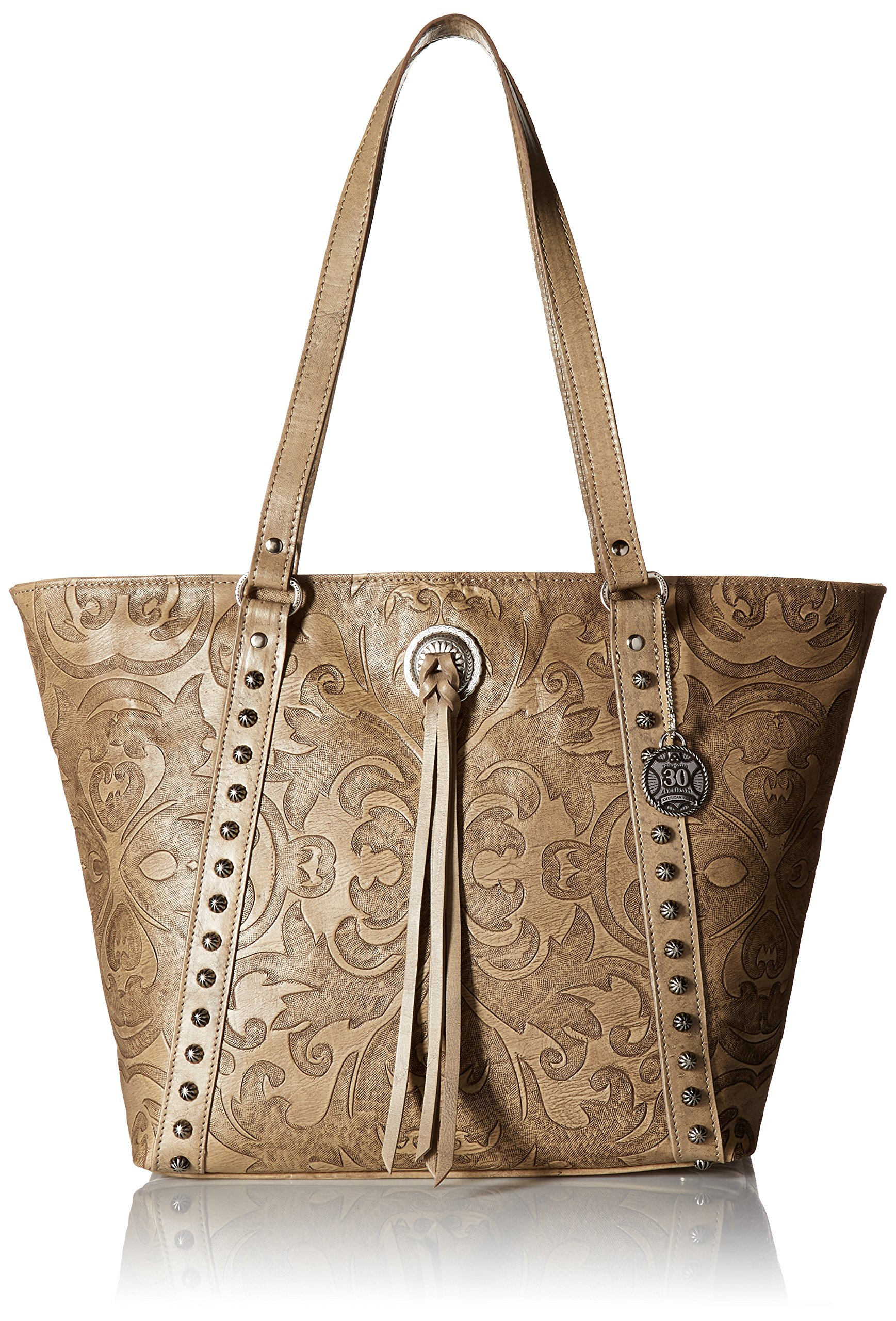 American West Baroque Zip Top Bucket Tote, Sand