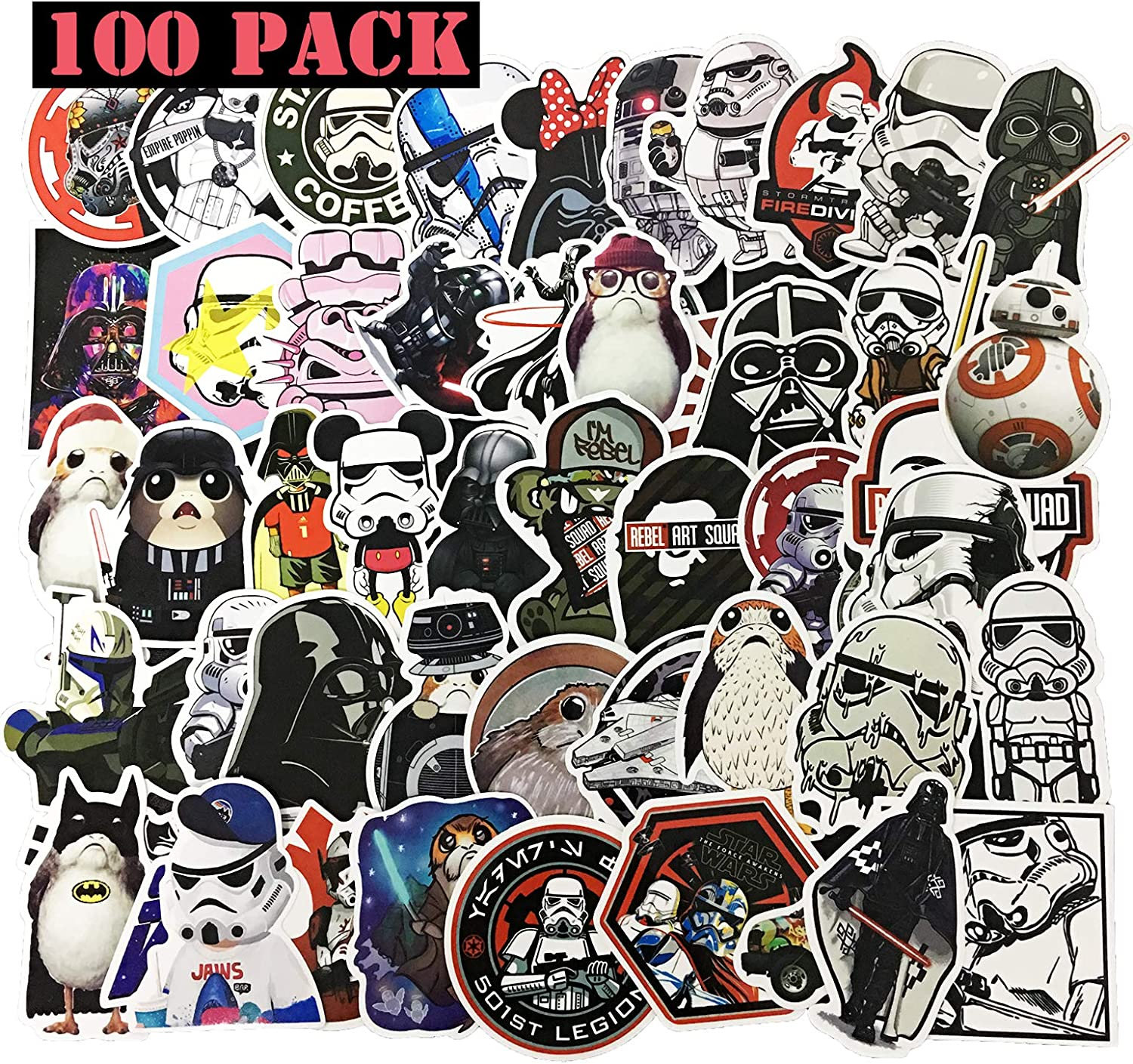 EHOPE Star Wars Stickers,Star Wars Laptop Stickers for Teens Boys Girls Vinyl Stickers for Laptop Waterproof PVC Suitcase Computer Car Bike Bumper Luggage Bicycle Motorcycle Skateboard (100 PCS)