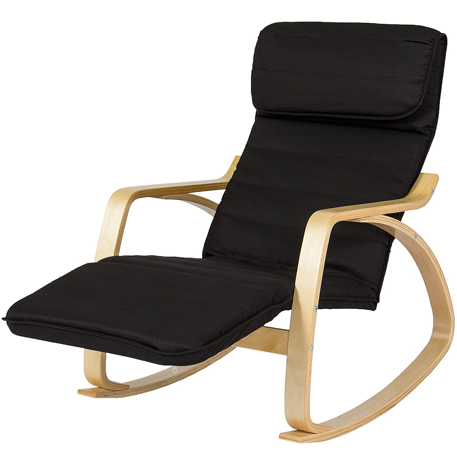amazon com bcp wood recliner rocking chair w adjustable foot rest