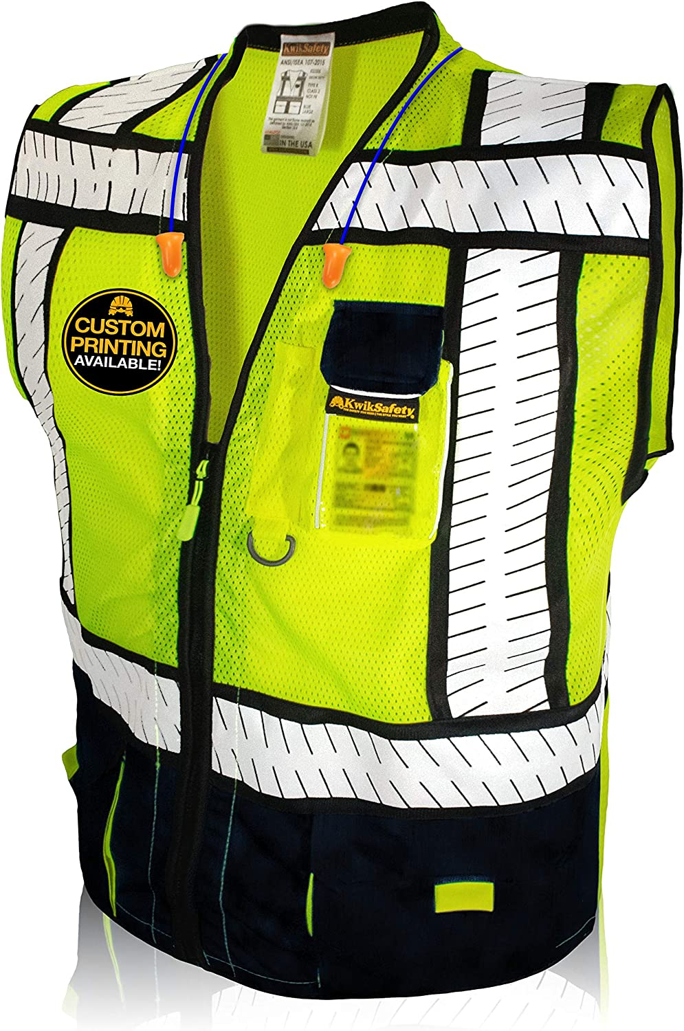KwikSafety (Charlotte, NC) SPECIALIST (Multi-Use Pockets) Class 2 ANSI High Visibility Reflective Safety Vest Heavy Duty Solid/Mesh and with zipper HiVis Construction Surveyor Work Mens Black XX-LARGE