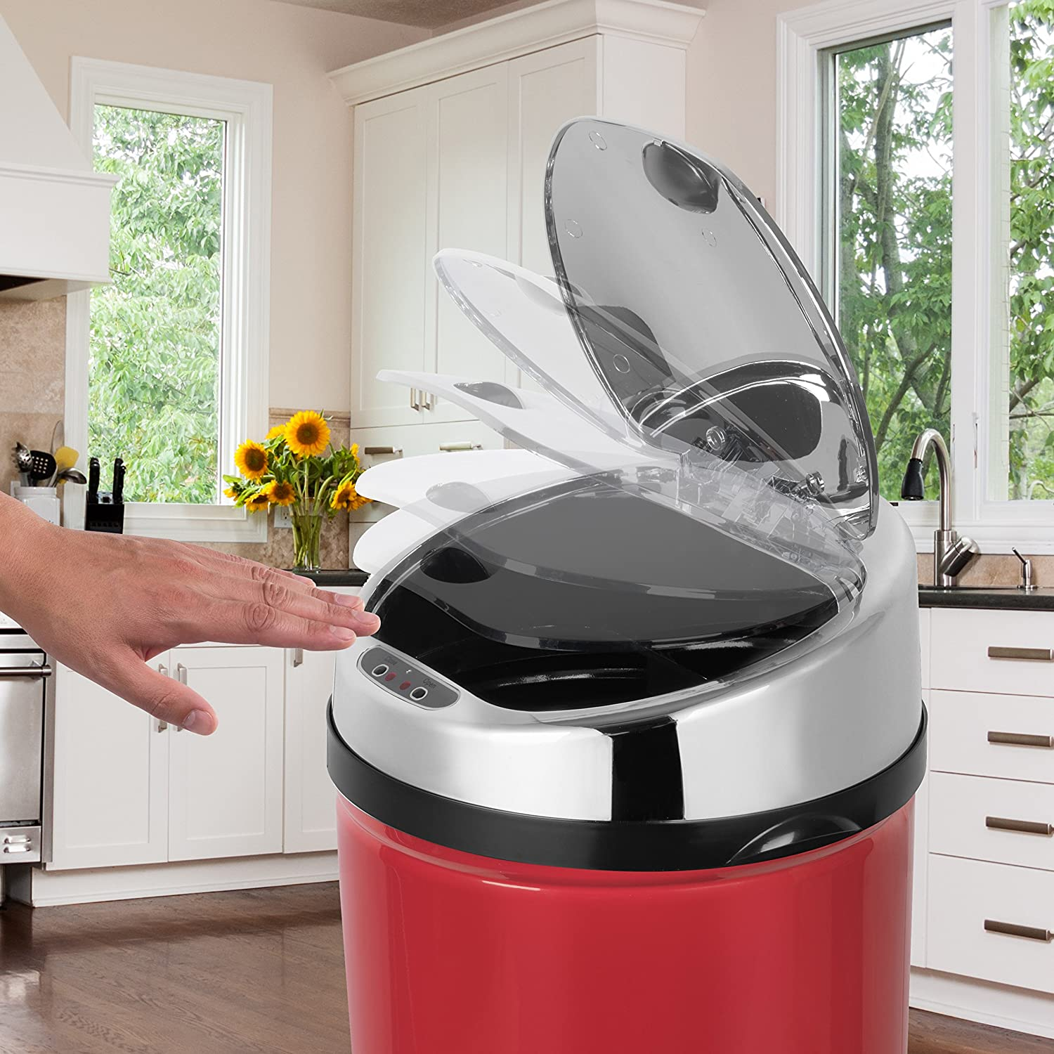Morphy Richards 971496//MO Redonda Basura con Sensor 30/ L Color Rojo