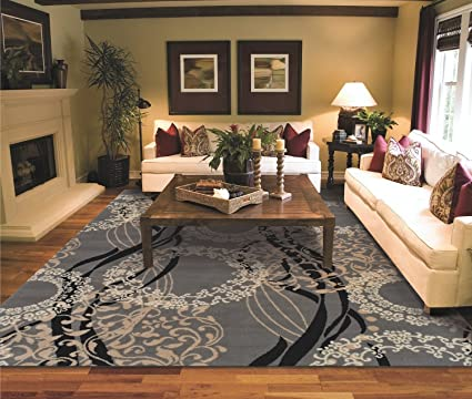Amazon Com Large Area Rugs For Living Room 8x10 Clearance Gray