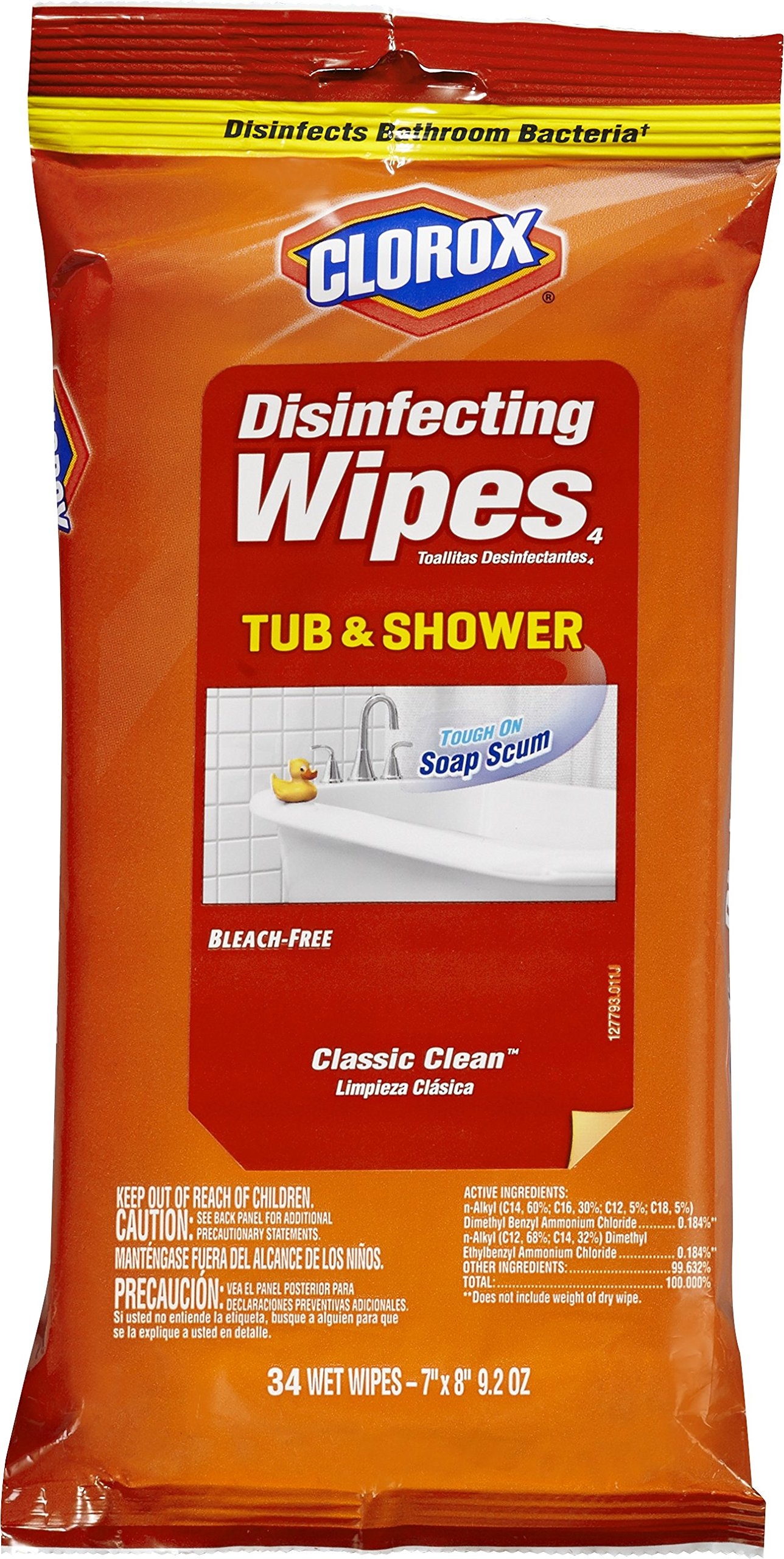 Clorox Disinfecting Wipes, Tub and Shower, Classic Clean, 34 Count (Pack of 12)