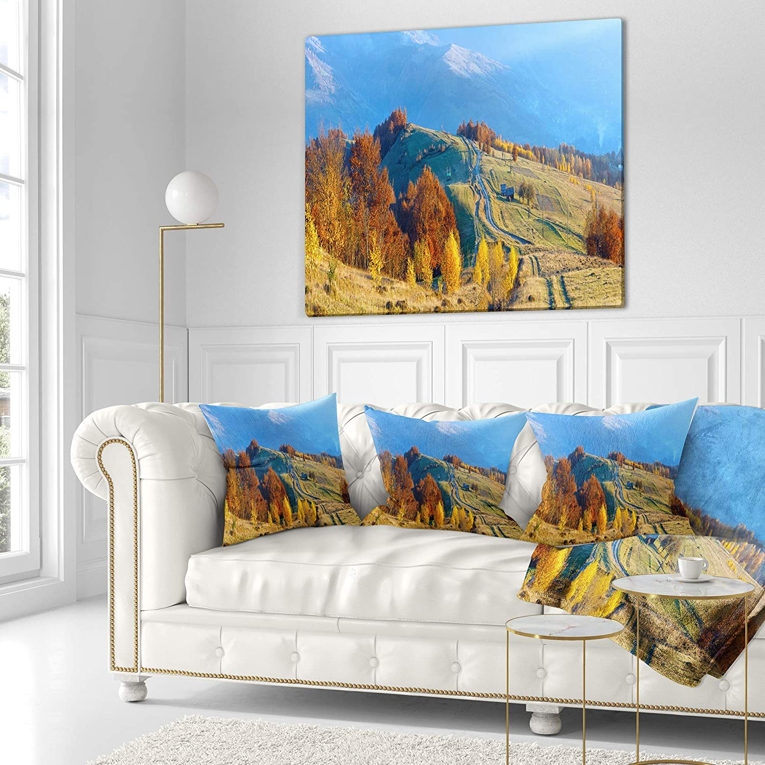 Insert Side Designart CU9935-26-26 Rural Road on Autumn Mountains Landscape Printed Cushion Cover for Living Room x 26 in in Sofa Throw Pillow 26 in