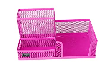 Good EasyPAG Mesh Desk Supplies Organizer 3 Sections Office Accessories Storage , Pink