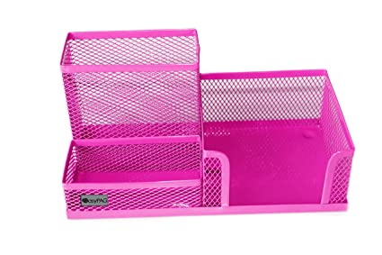 Delicieux EasyPAG Mesh Desk Supplies Organizer 3 Sections Office Accessories Storage, Pink