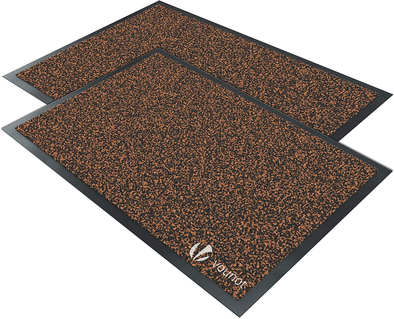 VOUNOT Juego de 2 Felpudos Entrada casa, Alfombra Exterior para Puerta, Impermeable Antideslizante Lavable, Alfombra para Interior y Exterior, 40x60cm, Marrón