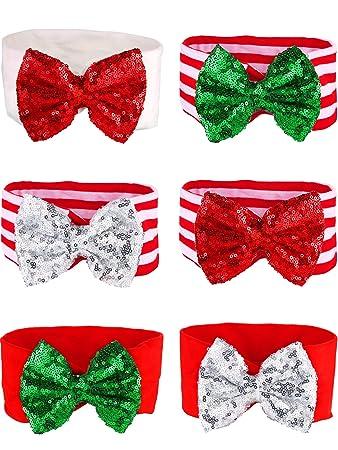 Amazon.com: Tatuo 6 piezas Navidad Glitter lazos bebé niña ...