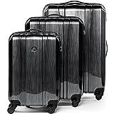 FERGÉ® Dreier Kofferset Dijon Trolley-Koffer Hartschale leicht Hartschale | Set 3-teilig Hartschalenkoffer mit 4 Zwillingsrollen (360°) | Koffer graphite-metallic | PREMIUM-QUALITÄT