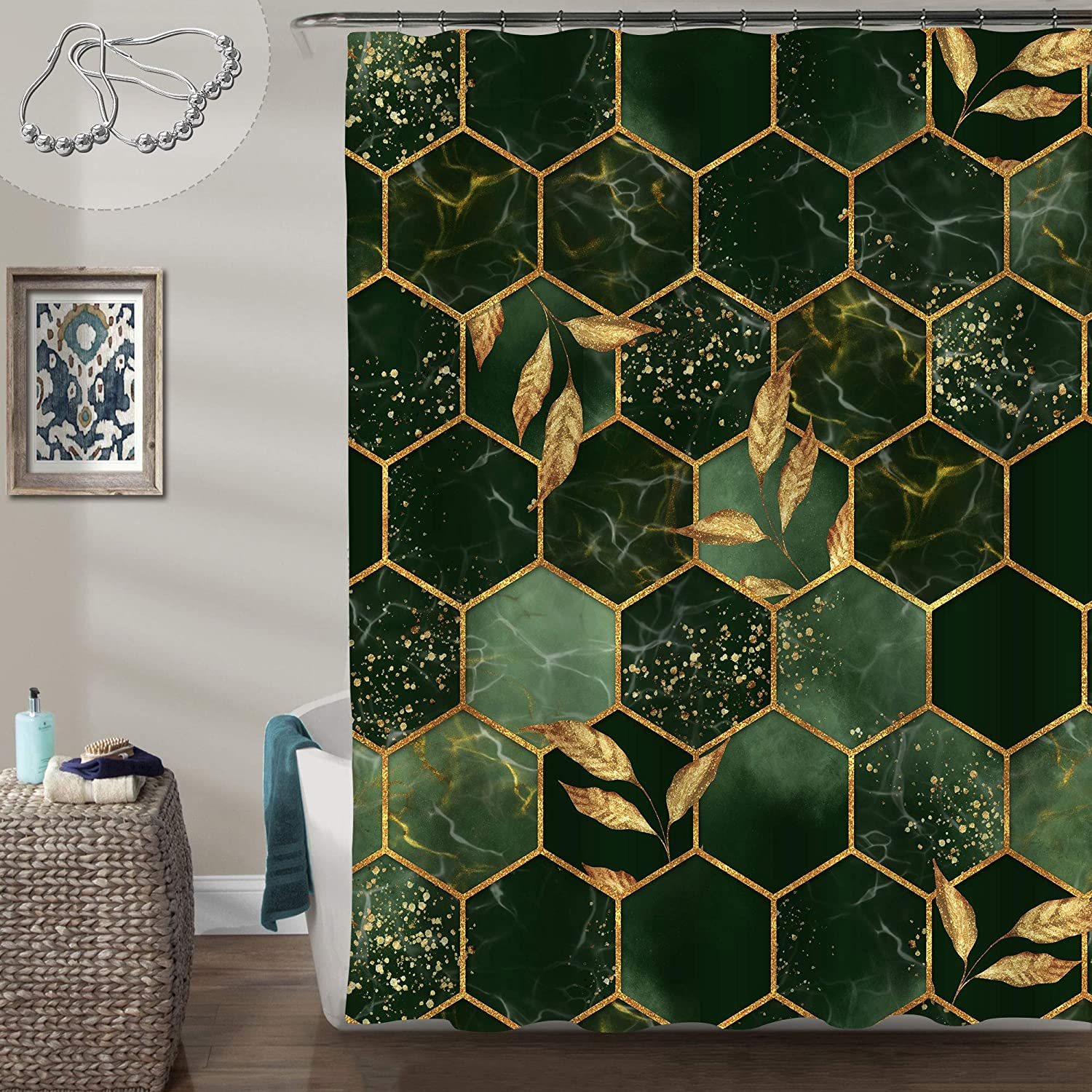 Gibelle Marble Shower Curtain, Abstract Dark Green Marble Geometric Texture with Golden Leaves Artistic Bathroom Decor, Contemporary and Luxury Bathroom Accessories for Men and Women, 72