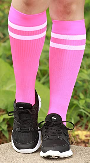 be4de9c9f4 Amazon.com: Mojo Compression Socks Special edition Breast Cancer Ribbon -  Firm Graduated Medical Compression with moisture Coolmax material Knee High  - Pink ...