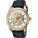 Invicta Men's Specialty 42mm Stainless Steel and Leather Mechanical Hand Wind Watch, Silver, Gold, Black (Model: 23533, 23535