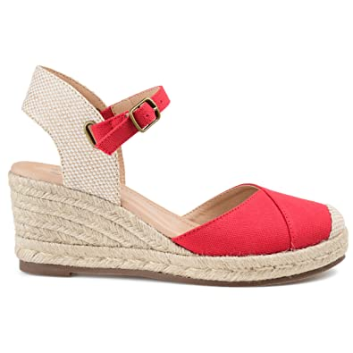 a801620ce Amazon.com  Brinley Co Comfort Womens Espadrille Ankle Strap Wedge  Shoes
