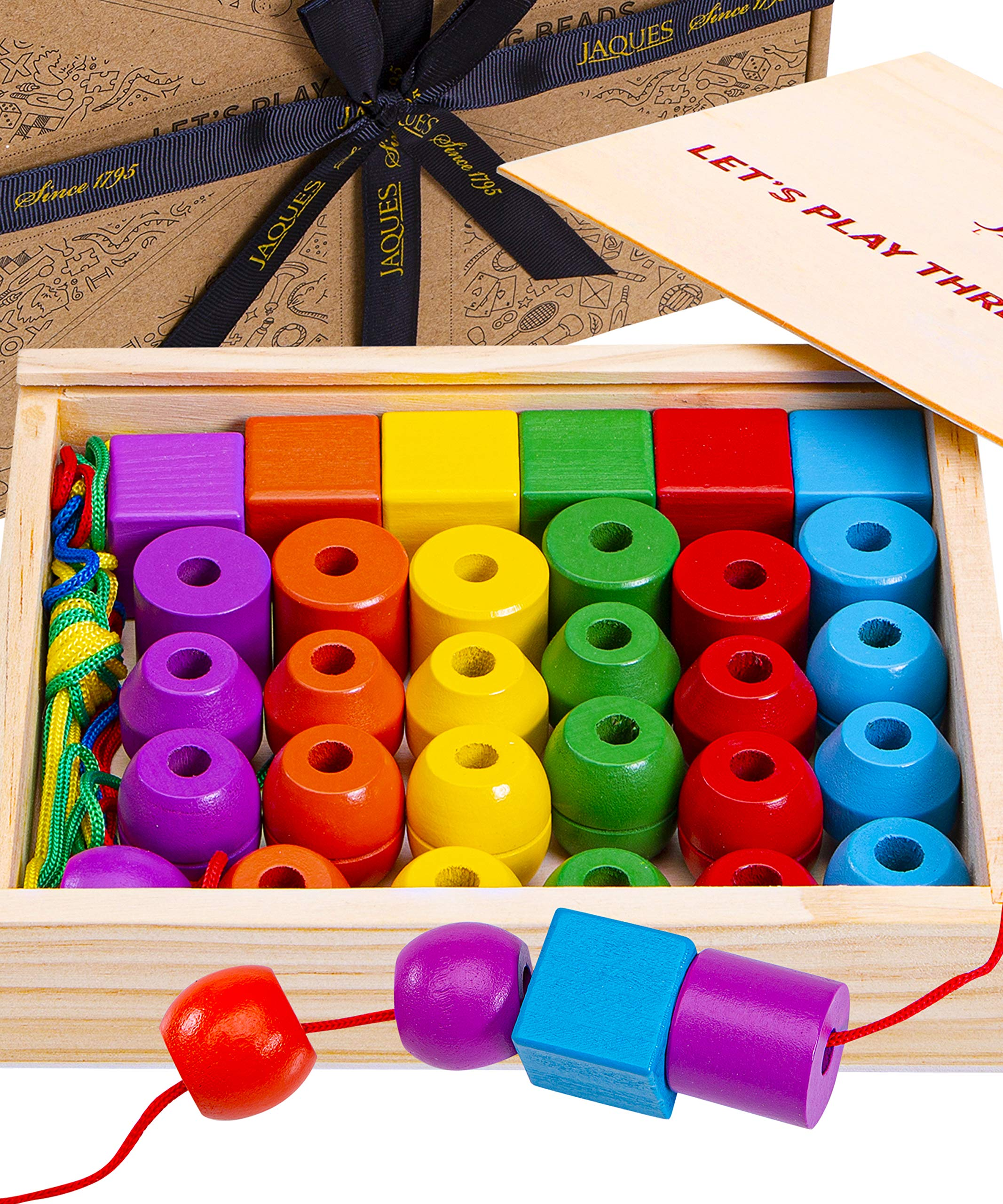 Jaques of London Wooden Toys | Perfect Learning Toys for 3 4 5 Year Olds | Toddler Activities Threading Toys | Quality Threading Beads | Wooden Toys for 3 4 5 Year Olds | Since 1795