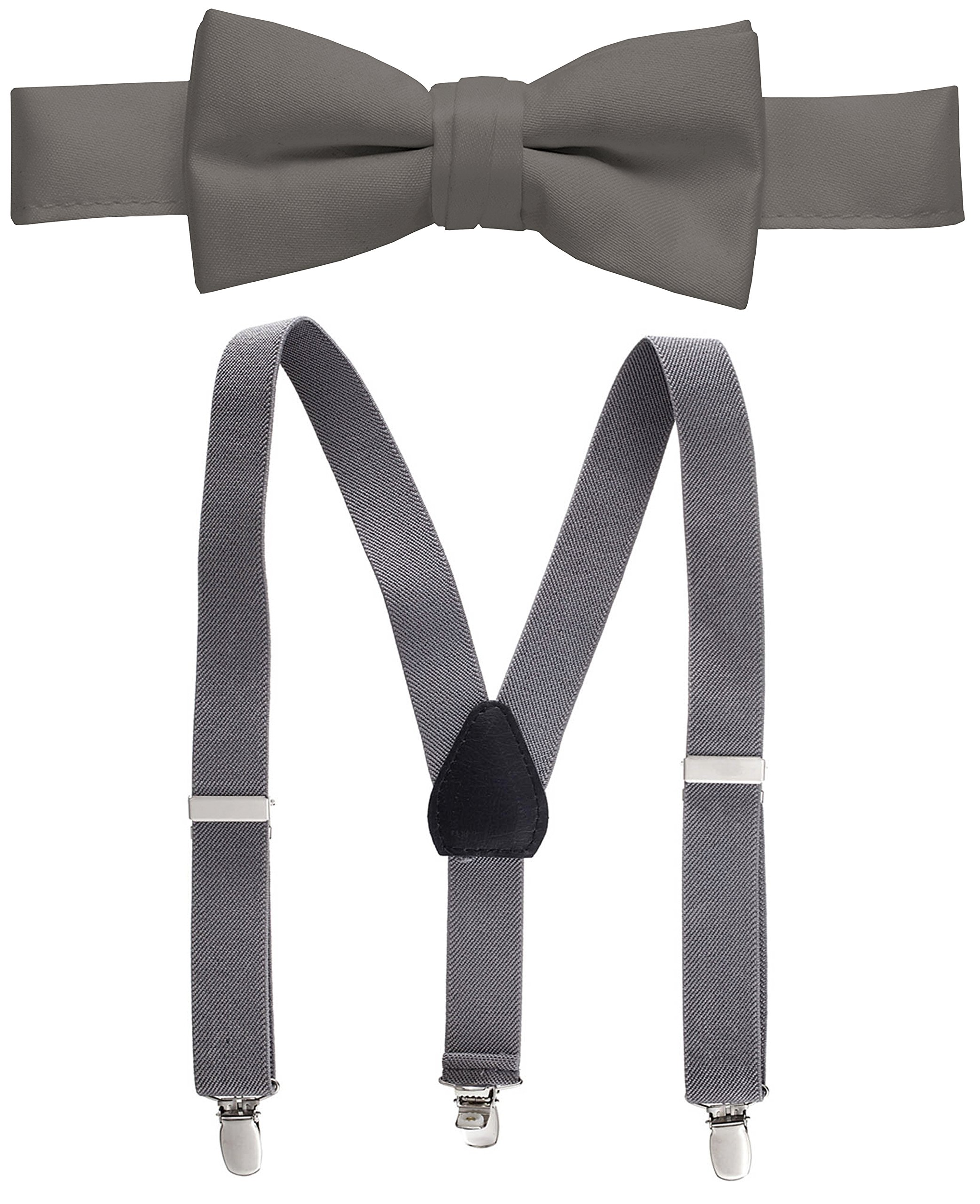 Hold'Em Suspender and Bow Tie Set for Kids, Boys, and Baby - Proudly Made in USA - Extra Sturdy Polished Silver Metal Clips, Pre tied Bow Tie-Gray 26''