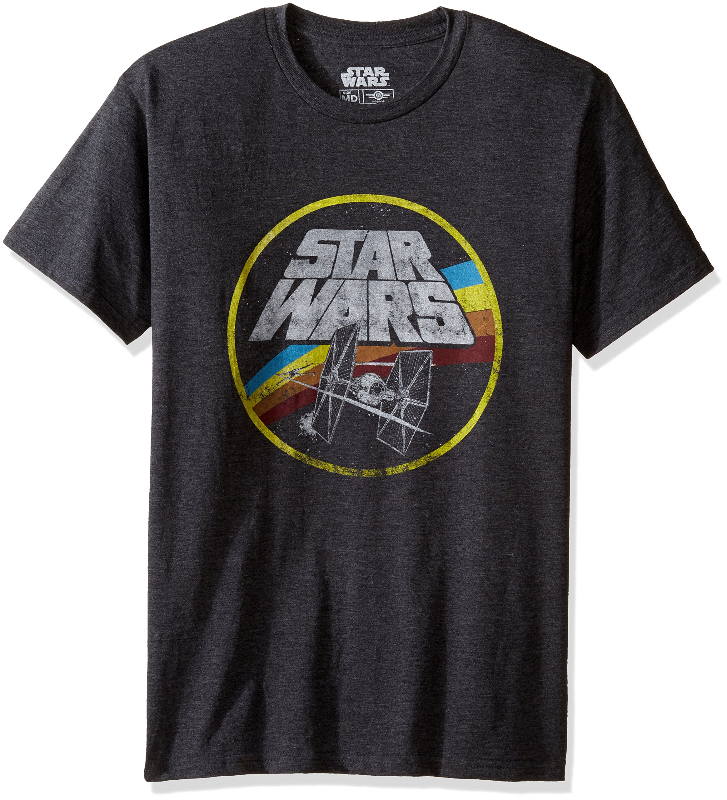 Star Wars Men's Circle Fight Short Sleeve T-Shirt, Charcoal Heather, Medium