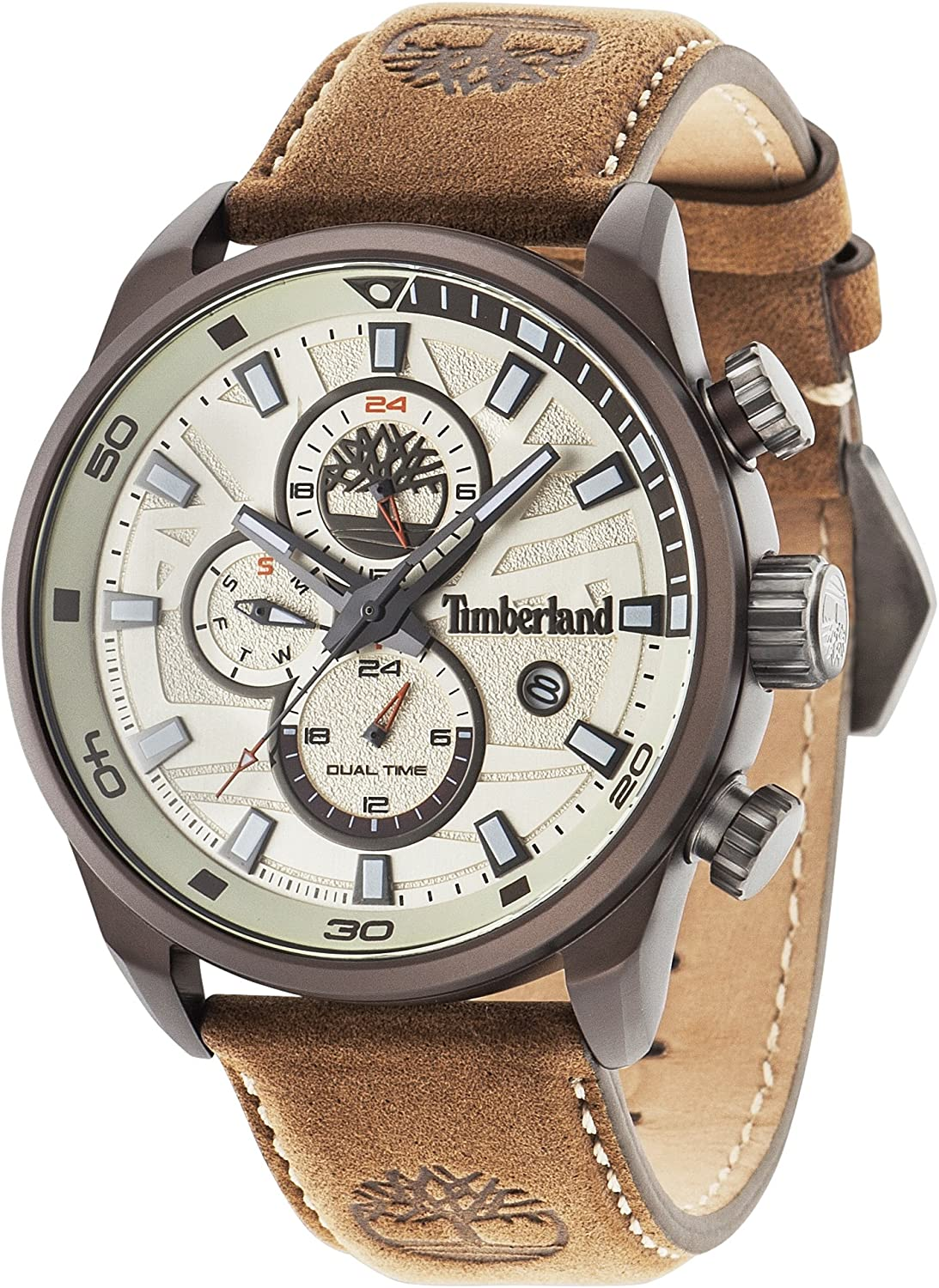 Enfatizar cigarro principal  Timberland Men's Quartz Watch with Beige Dial Analogue Display and Beige  (Light Brown) Leather Strap 14816JLBN/07: Amazon.co.uk: Watches