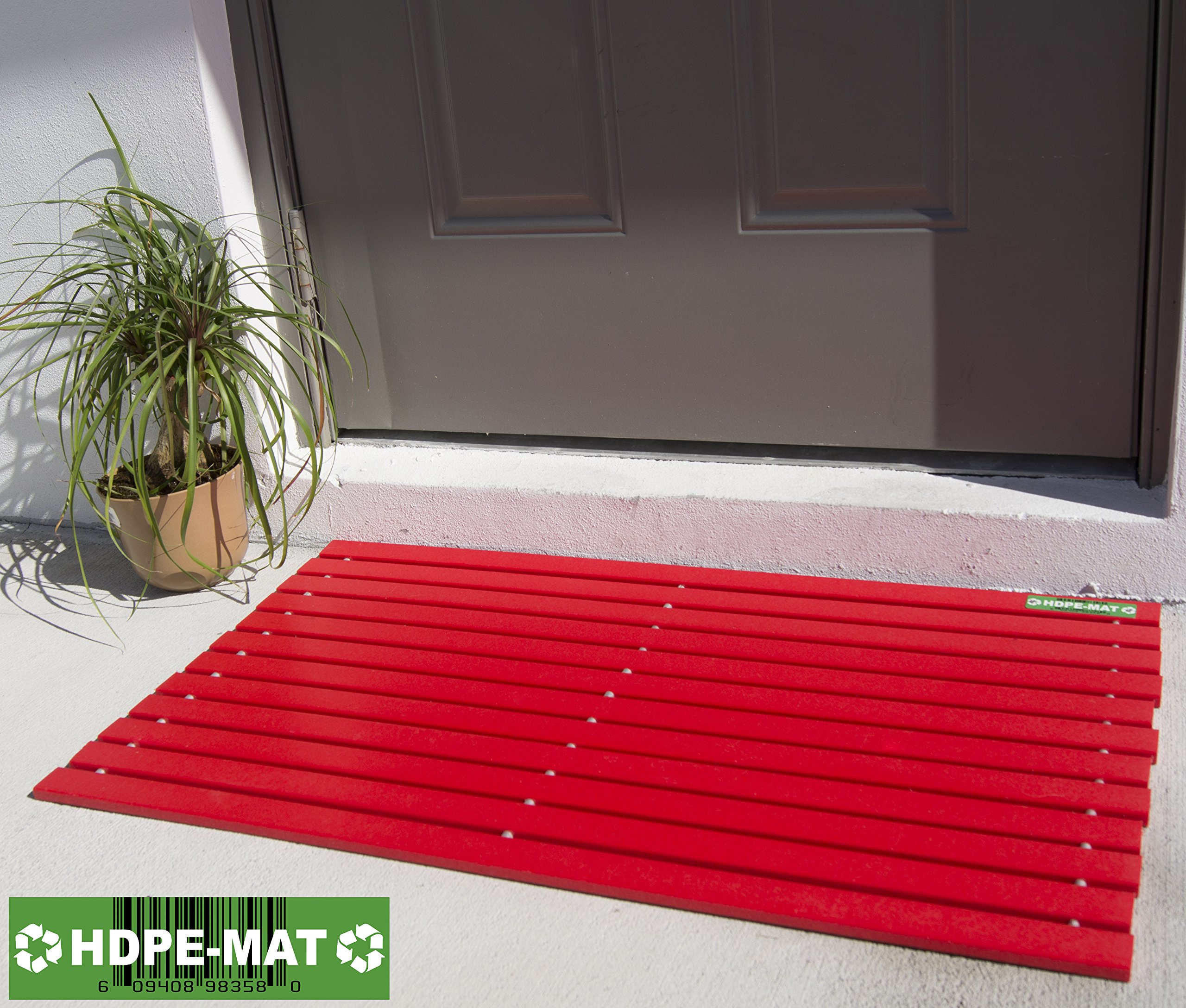 Heavy Duty Waterproof Front Door Mat | Eco Friendly | Stylish Handcrafted Red Recycled Plastic Poly Lumber Slats - Welcome Doormat For Outdoor Entrance Porch Garage Patio Entry | UV Resistant HDPE-MAT