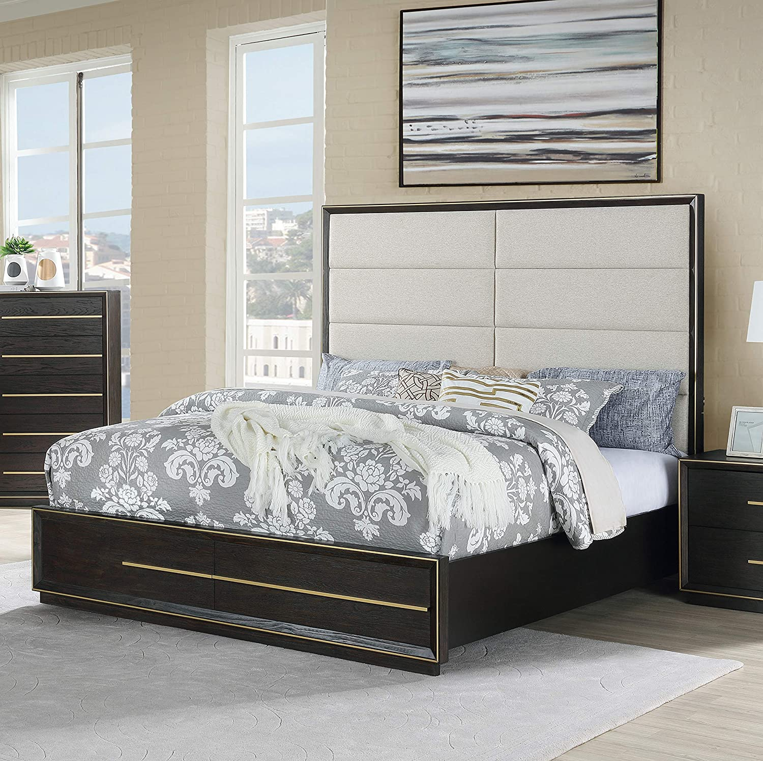 Roundhill Furniture Myory Contemporary Wood Upholstered Panel Bed With Usb Queen Espresso Furniture Decor