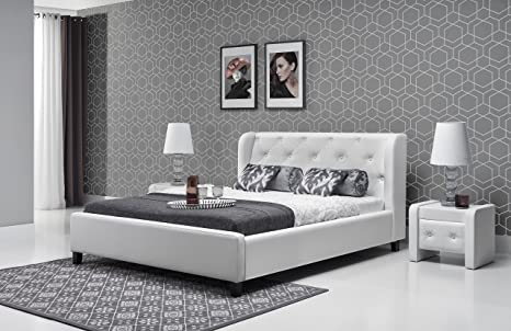 Parys letto bianco largo 140 cm senza materasso con doghe letto, 2 ...