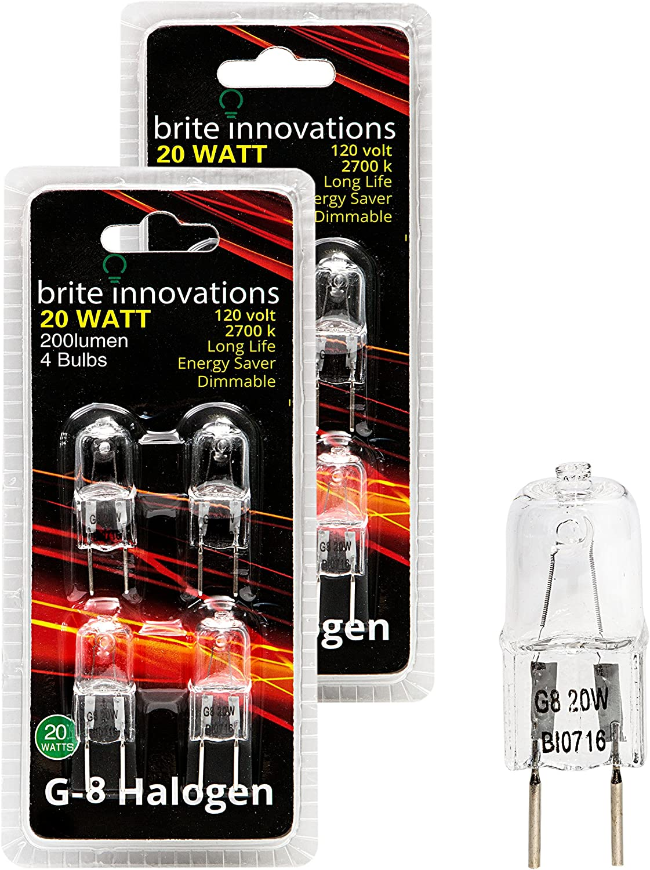 Brite Innovations G8 Halogen Bulb, 20 Watt (8 Pack) Dimmable Soft White 2700K -120V-Bi Pin -Q20, CL, T4 JCD Type, Clear Light Bulb