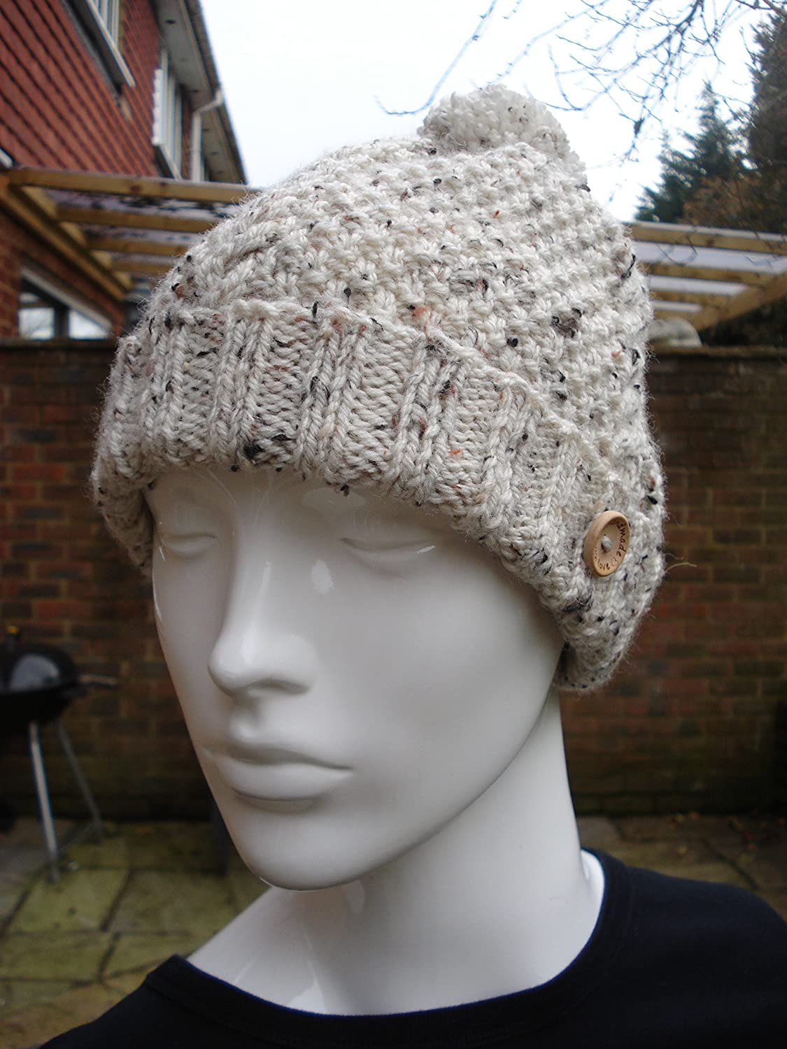 Gift for Him or Her Aran Cable Hat with Pom Pom, Cream Tweed Aran Yarn Complete with Wooden 'Hand Made With Love Button' Cream Tweed Aran Yarn Complete with Wooden Hand Made With Love Button