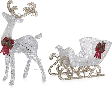 Noma Pre Lit Led Light Up Reindeer And Sleigh Set Christmas Holiday Lawn Decoration Indoor Outdoor
