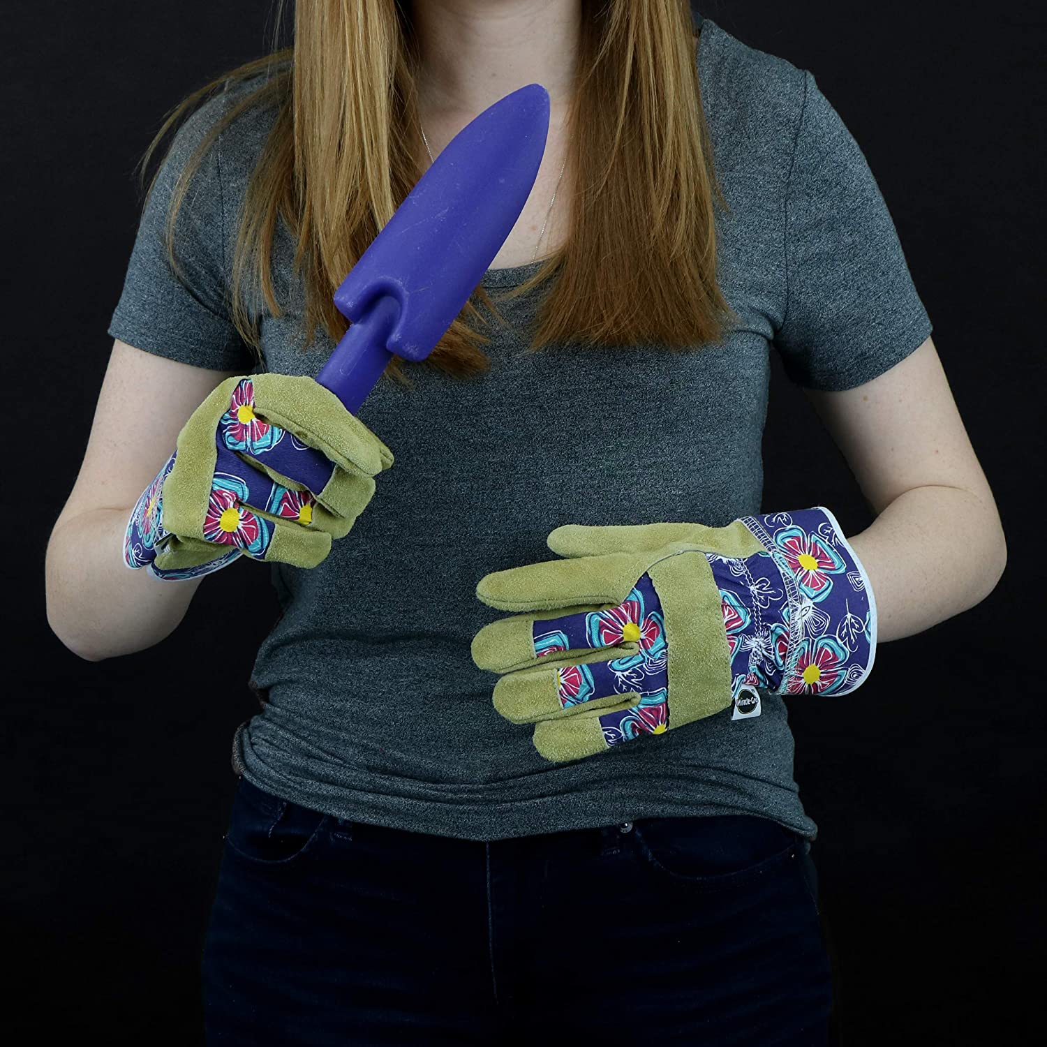 Womens Small//Medium 1 Pair Women/'s Small//Medium 1 Pair Westchester Holdings MG23011//WSM West Chester Miracle-Gro MG23011 Split Cowhide Leather Landscaping Work Gloves Purple//Floral Print