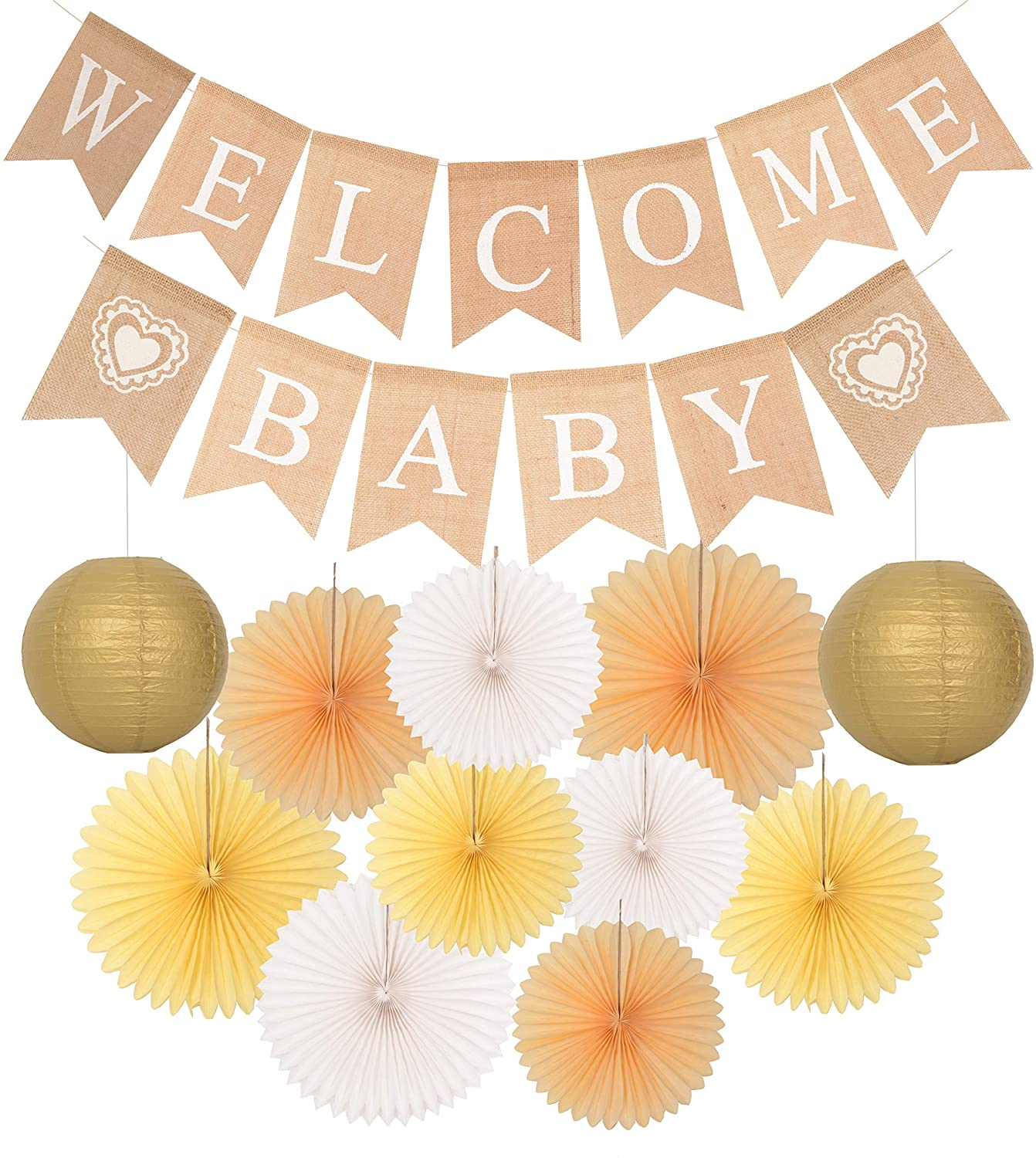Welcome Baby Party Decoration | Rustic Welcome Baby Burlap Banner | Baby Shower Decorations | Burlap Banner Welcome Baby | Gender Reveal Boy Girl Party Supplies by MEANT2TOBE