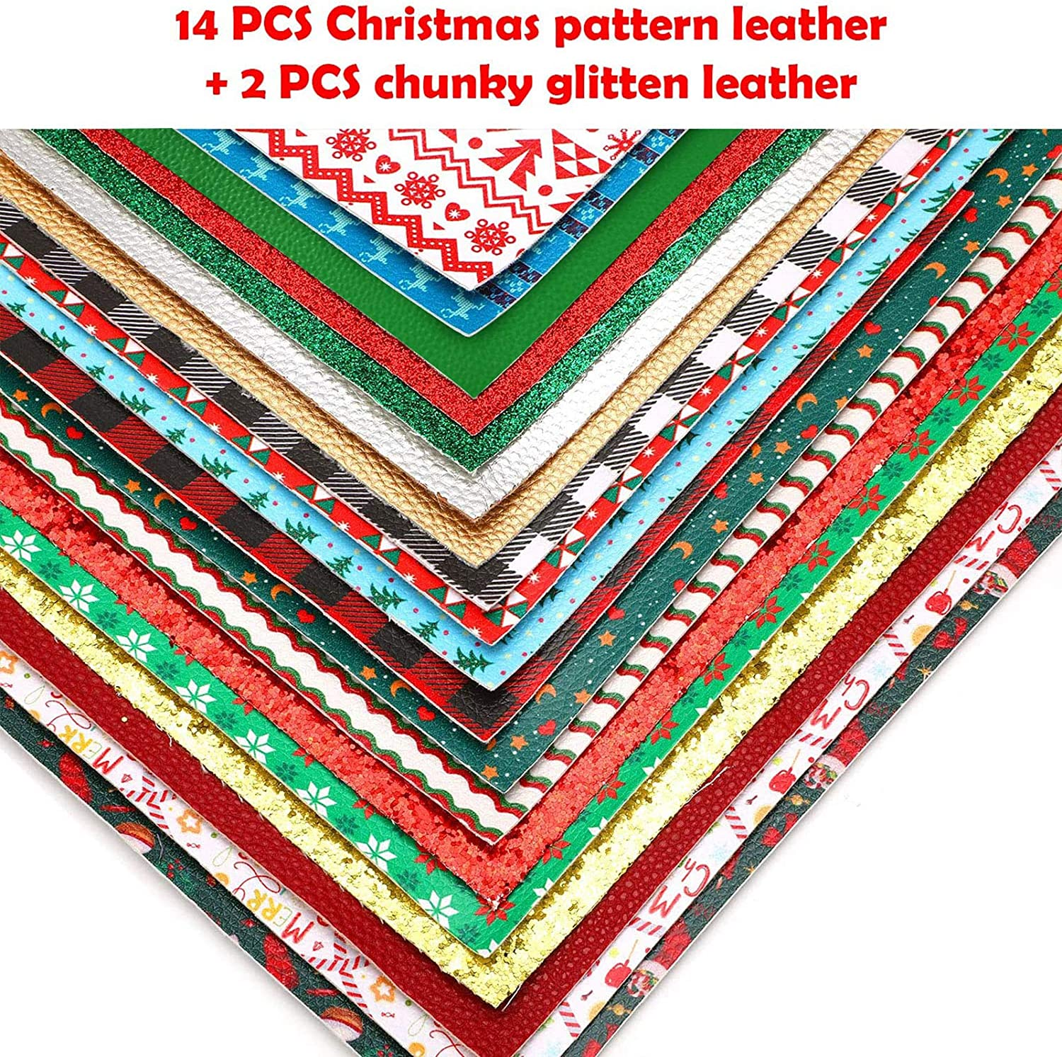 1 Christmas Ornaments Faux Leather Fabric Sheet Hair Bows Headbands Hair Clips Journal Covers Sanitizer Holders Keychains Jewelry D26-01