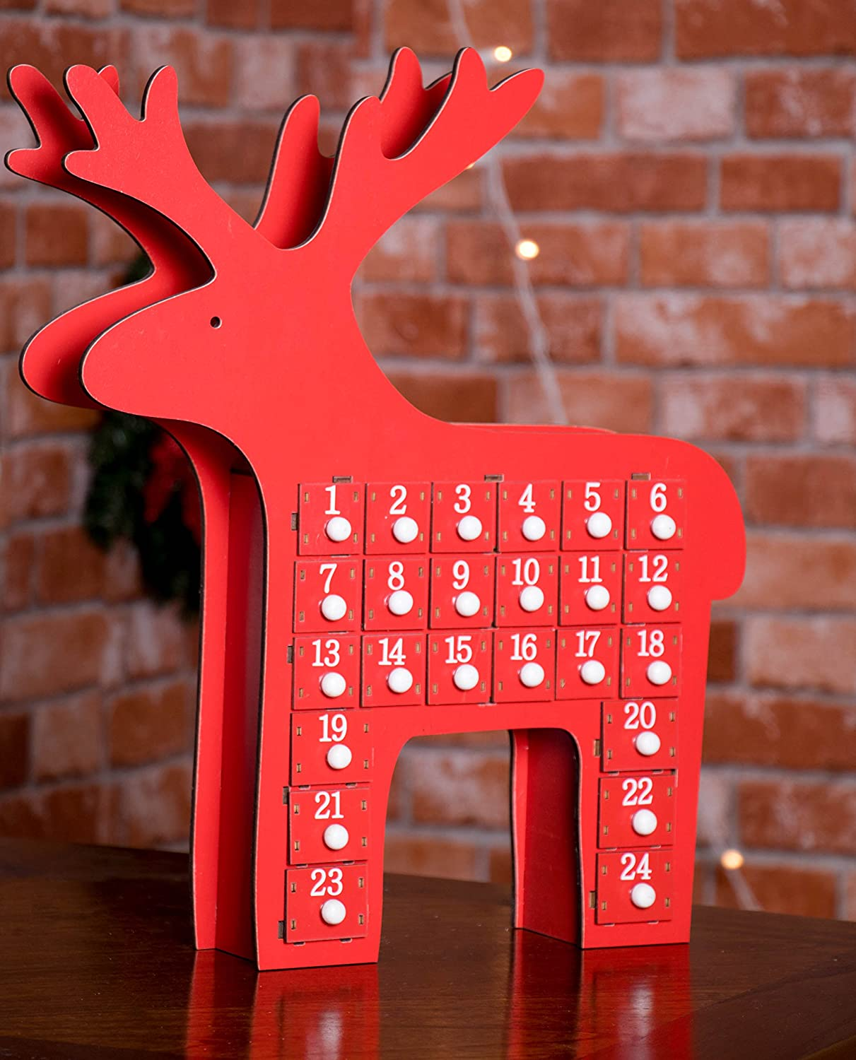 Wood Advent Reindeer Red Design Featuring 24 Box Drawers