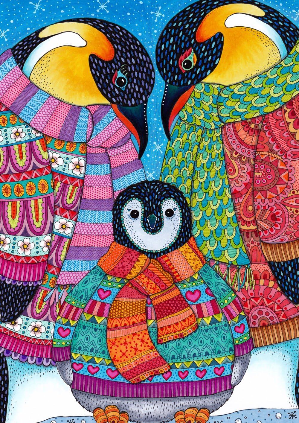 Toland Home Garden Penguin Parents 12.5 x 18 Inch Decorative Colorful Winter Snow Animal Scarf Garden Flag