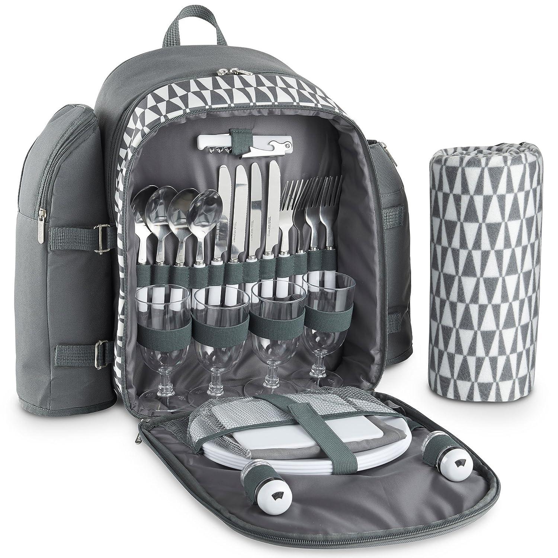 *VonShef Geo Picknick-Rucksack grau mit Decke für 4 Personen*