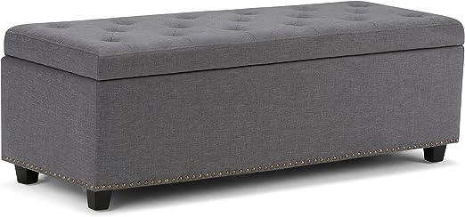 Simpli Home Hamilton Storage Bench in Black