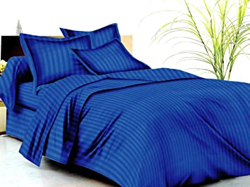 Trance Home Linen 100%Cotton 210 TC Single Fitted Bedsheet with 1 Pillow Cover (Ink Blue 78X36-inch)
