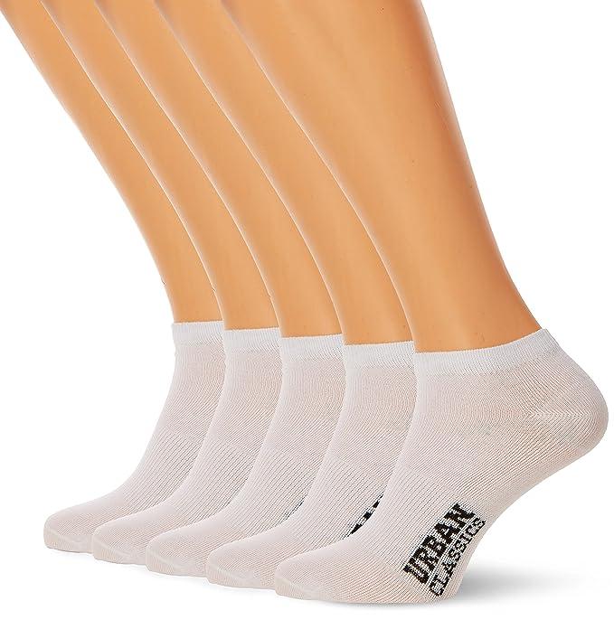 Urban Classics Logo No Show Socks 5-Pack, Calcetines Cortos para Hombre, Blanco