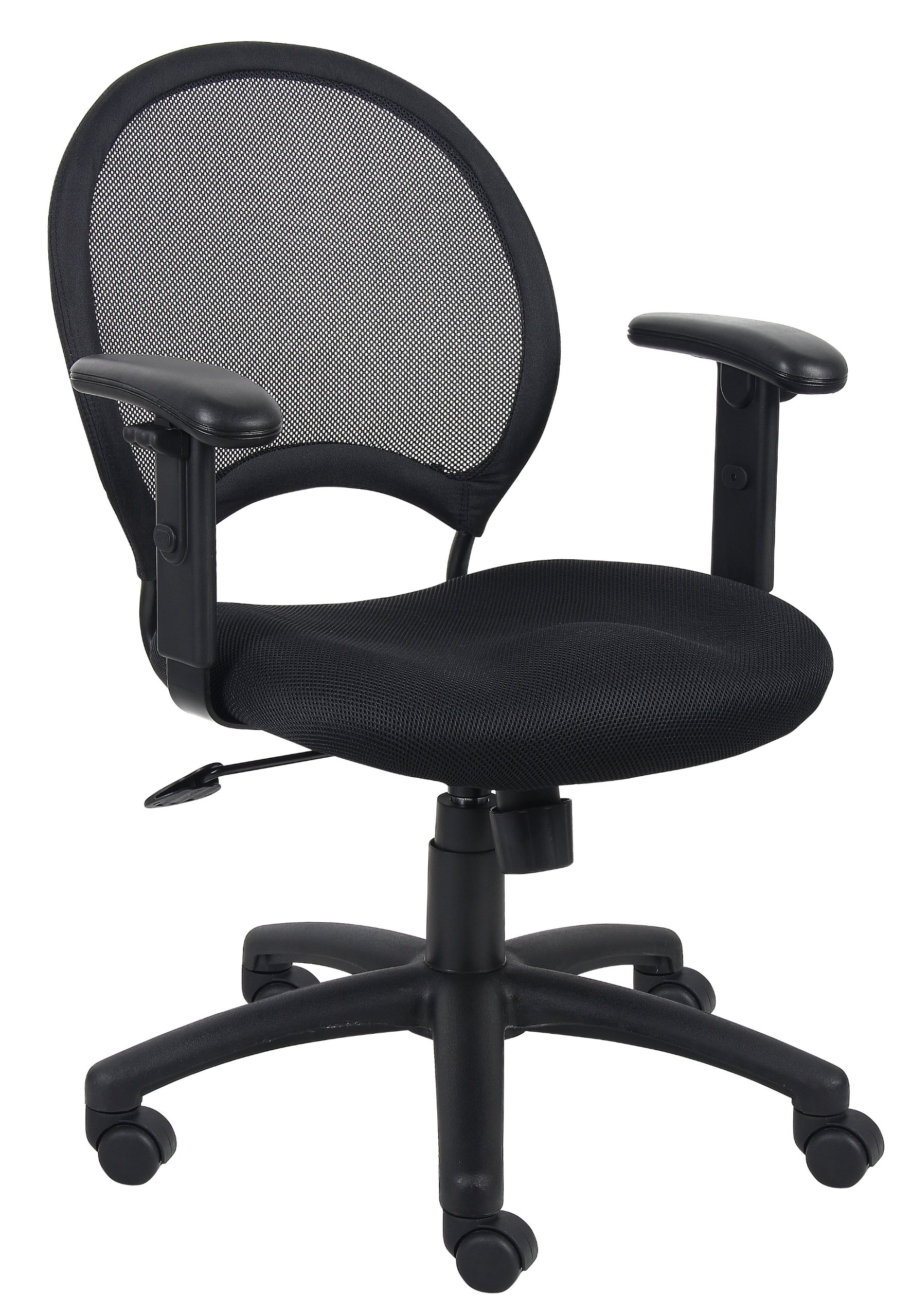 Boss Office Products B6216 Mesh Task Chair with Adjustable Arms in Black