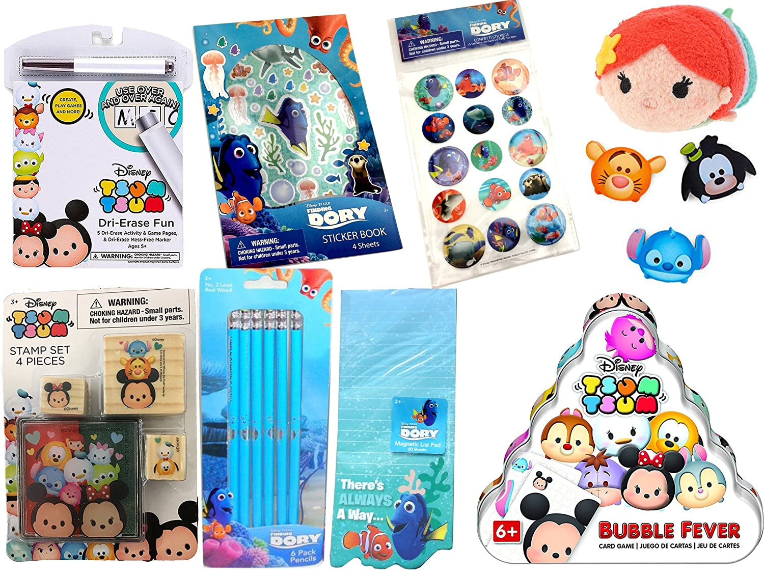 Ariel Little Mermaid Disney Tsum Tsum Collection Mini Plush Bubble Fever Card Game Finding Dory Pencils confetti Stickers Character Erasers WD AYB Activity Fun Pad