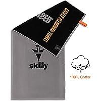 skilly FBT120 Fitnesshandtuch I Sporthandtuch mit Antirutschfunktion I Fitness Handtuch 120x50cm I Handtuch aus 100% Baumwolle I grau und schwarz XL