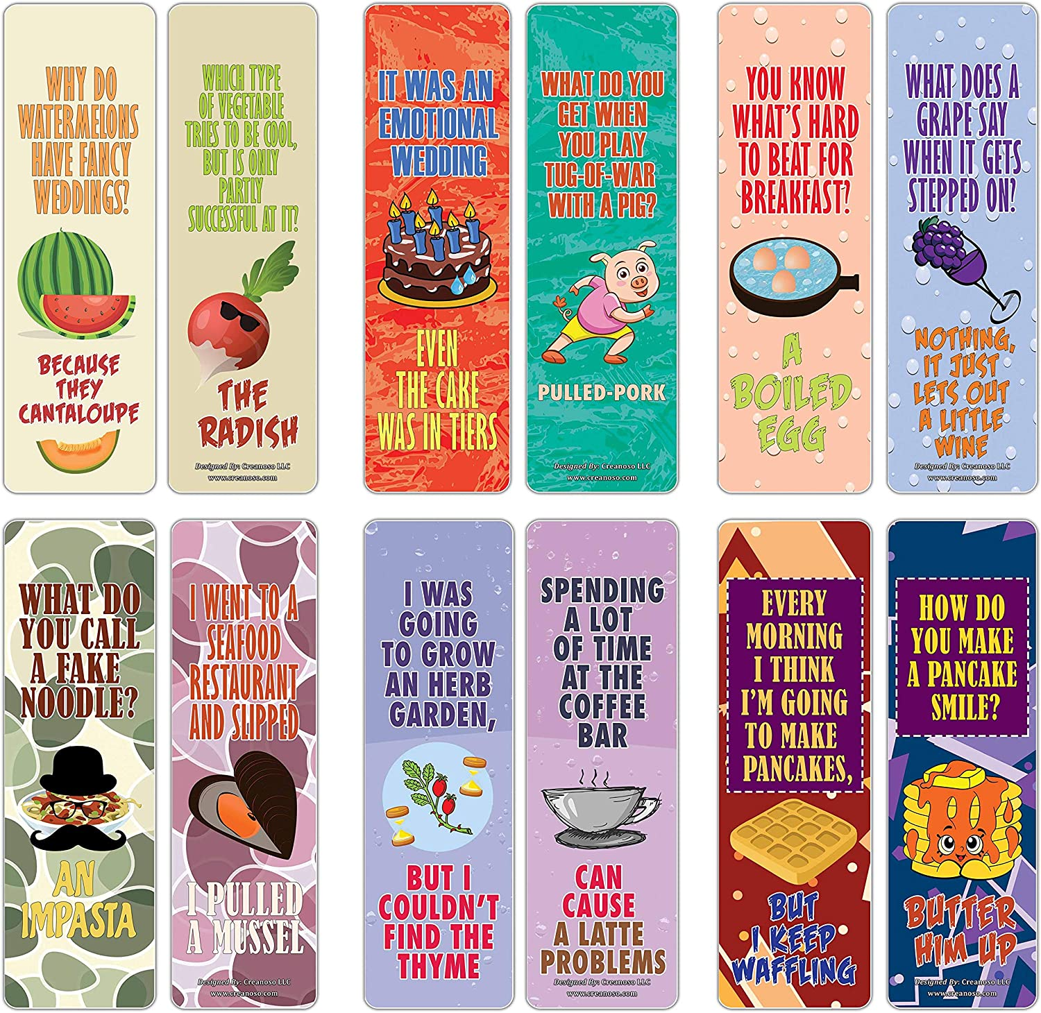 Amazon Com Creanoso Food Puns Funny Jokes Bookmarks 30 Pack Six Assorted Quality Bookmarker Cards Set Premium Gift Token Giveaways For Boys Girls Men Women Adults Cool Book Page