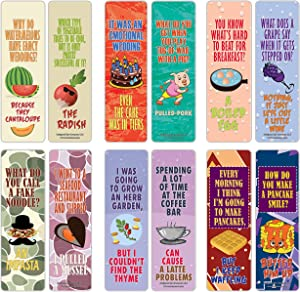 Creanoso Funny Food Puns Jokes Bookmarks (12-Pack) – Six Assorted Bulk Pack Book Page Clippers – Great Stocking Stuffers Gifts for Men, Women, Boys, Girls, Teens – Unique Token Giveaways