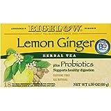 Bigelow Lemon Ginger Herb Plus Probiotics Tea - Caffeine Free - 18 Individually Wrapped Tea Bags