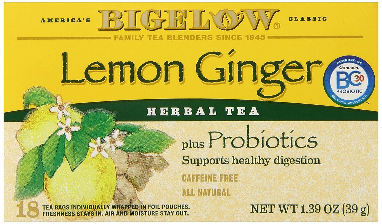 Bigelow herbal tea - Amazon Com Bigelow Lemon Ginger Herb Plus Probiotics Tea Caffeine Free 18 Individually Wrapped Tea Bags Grocery Gourmet Food