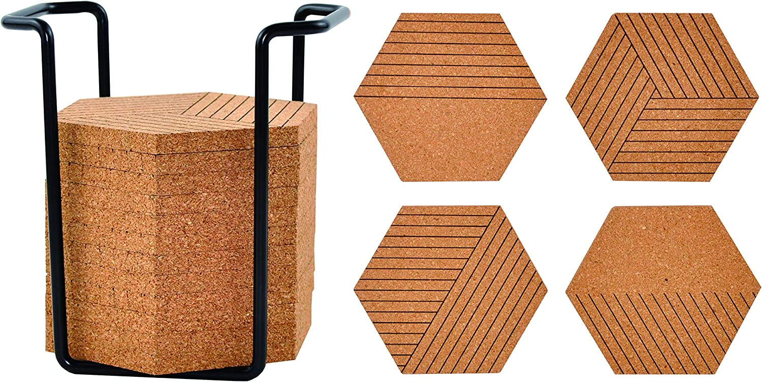 DUCIHBA Natural Cork Coasters Set of 16 with Metal Holder Storage Caddy, Absorbent Heat-Resistant, Reusable Saucers Hexagons Mat for Drinks Glasses Mugs, Housewarming Present, Wall Decor- 4 Designs