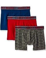 161PB01 Lucky Cotton 1X1 Rib Boxer Briefs 3 Pack