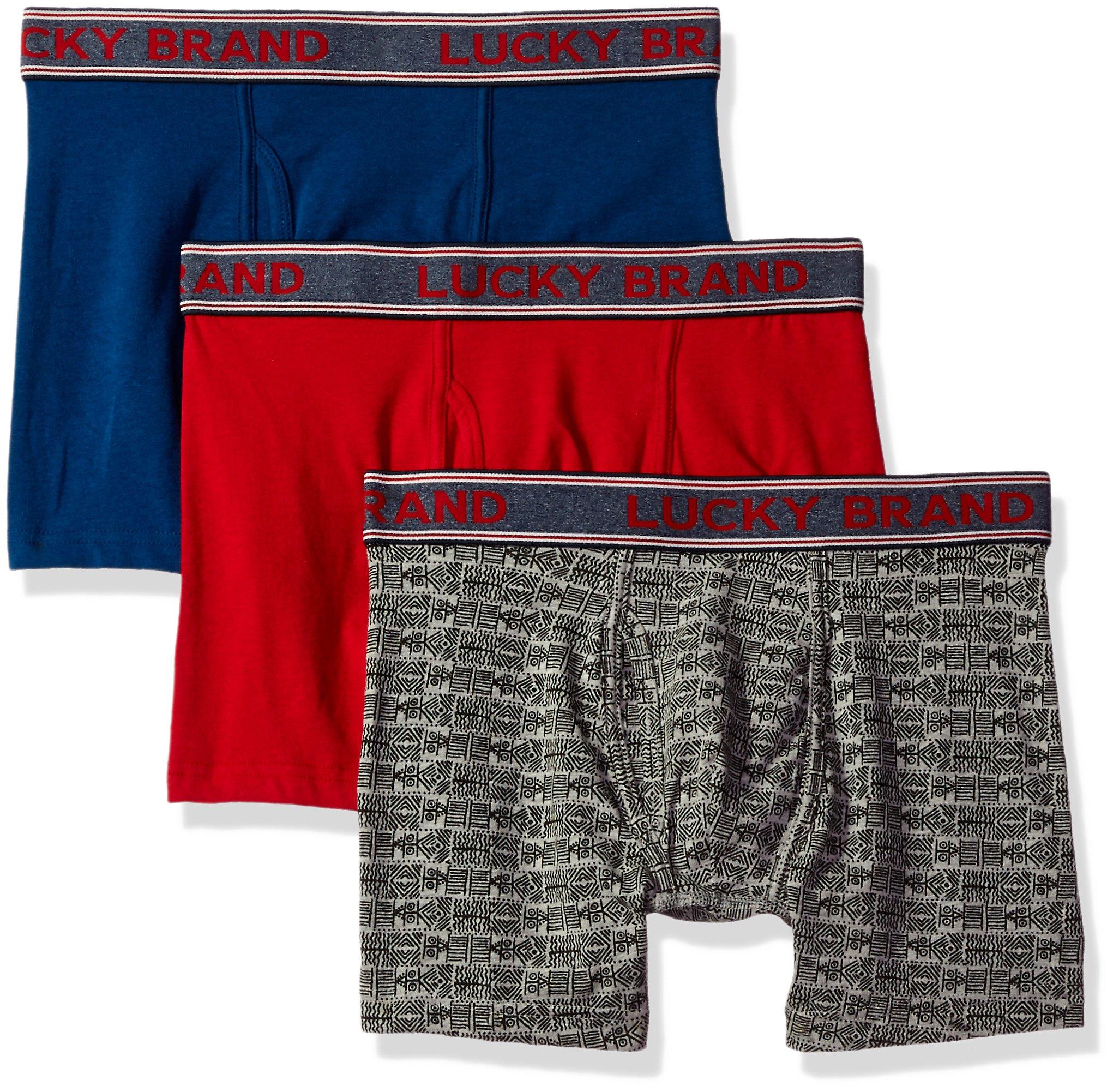 Lucky Brand Men's Standard 3 Pack Stretch Boxer Briefs, Blue Opal/Jet Black Print/Scarlet Sage, Medium